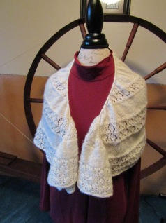 Meadowsweet Shawl curled fronts